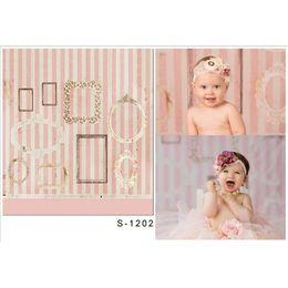 Wholesale White Vinyl Backdrops - White Stripes Pink Wall Photography Backdrops Vinyl Fabric Printed Photo Frames Baby Newborn Children Photo Shoot Backgrounds for Studio