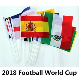 Wholesale Flag Pole Wholesale - Hand held flags with poles 2018 World Cup 32 Countries Small Hand National Flags 14*21CM Flying Banner Flags Party Decorations