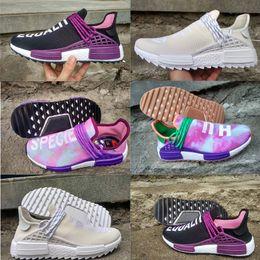 Wholesale Blank Fabrics - Hot Sale 2018 NMD Human Race trail High Quality Running Shoes Men Women Pharrell Williams Holi Blank Canvas sports shoes size 36-45