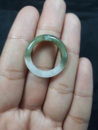 Anéis de jade tamanho on-line-Grau Natural A Jadiete Jade anel de pedra escultura Tamanho 7 A7 165