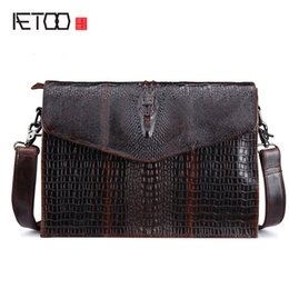 Wholesale Tiding Leather Bag Men - AETOO 2017 New genuine leather bag women vintage leisure Shoulder Satchel Bag tide oil wax crocodile business briefcase