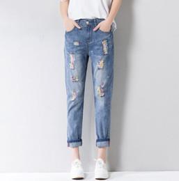 Wholesale fashion ankle cuffs - 2018 Fashion Women Jeans Soft Ankle-Length Casual Harem Denim Hole Colorful Print Cowboy Femme Cotton Harem Pants Loose Trousers