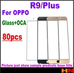 iphone vidrio frontal dorado Rebajas 80pcs DHL para OPPO R9 Plus frontal de la lente de vidrio de la pantalla exterior con OCA juntos reparar pantalla táctil exterior de vidrio negro / oro / blanco rosa