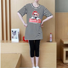 c311977fc60 M-XXL Women Summer Casual Two Piece Set Cotton Stripe Dog Pattern O-Neck  Half Sleeve Tops + Calf-Length Pants Women s Costumes