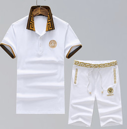 Wholesale mens sports track suits - Fashion track Tracksuits Short Sleeved Jogging Embroidery White Mens Clothing Printing Sport Tshirt Casual Colthing Trousers suit