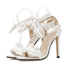 316744f7302192 High Heel Beautiful Sandals 2018 Summer New Popular Lace Crossing Chalaza  Women White Fine-heeled Shoes 35-40 Code 115mm-heel Best