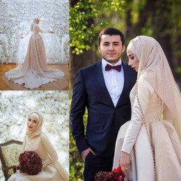 Wholesale hijab new design - High Neck Hijab Muslim Wedding Dresses Custom Made Long Sleeves Satin Dresses New Design Bridal Gowns
