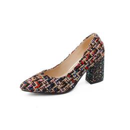 BK07-5 Primavera y otoño, zapatos de tacón ásperos y de tacón alto, damas, de compras, gratis y de poca profundidad. Código super grande desde fabricantes