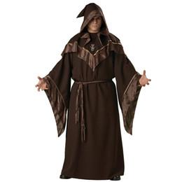 trajes de deus Desconto Festa de Halloween Xamã Traje Religioso Europeus Religiosos Homens Deus Pai Missionário Assistente Gótico Cosplay Priest Uniforme