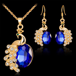 Wholesale Diamond Peacock Earrings - Crystal Peacock Necklace Earrings Rings Jewelry Sets Gold plated Pendants for Women Fashion Jewelry Gift