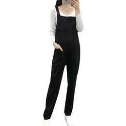 Pengpious negro mujeres embarazadas casuales en general cintura elástica holgada cómoda tirantes moda pantalones vaqueros de algodón maternidad mamelucos desde fabricantes