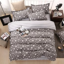 Wholesale classic bedding sets - Classic Bedding Set 5 Size Grey Blue Flower Bed Linens 4pcs  Set Duvet Cover Set Pastoral Bed Sheet Ab Side Duvet Cover Bed