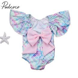 купальник-купальник Скидка 2018  New Toddler Infant Child Kid Baby Girls Scales Leotard Costume Swimwear Swimsuit Bikini Set Bathing Bow Suit 6M-4T