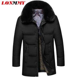 5ed32d248e18d LONMMY Cuello de piel sintética Estilo largo para hombre parkas de invierno  Gruesa chaqueta de invierno cálido hombres abrigo parka macho abajo pato  Negro ...