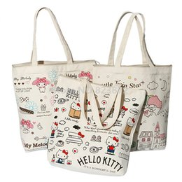 Wholesale Kitty Tote Bag - Cute Hello Kitty Canvas Shoulder Bag Women Handbag Melody Little Twin Stars Kawaii Cartoon Book Bags Shopping Bag Zipper