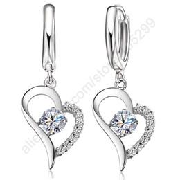 Wholesale Earring Leverback - whole saleJEXXI Crystal Cubic Zirconia Fine Jewellery Set 925 Sterling Silver Real Pure Heart Pendant Leverback Earrings Drop Accesory