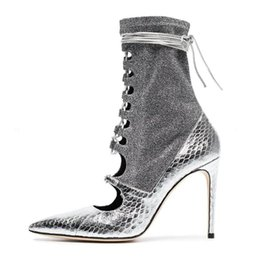 fa429553db1 Fashion silvery Boots Women Heel Spring Autumn Lace-up Soft Leather  Platform Shoes Woman Party Ankle Boots High Heels boots