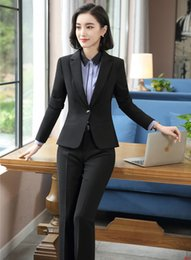 6bc716294dc5 Formal Black Blazer Women Business Suits with Pant and Jacket Set Ladies  Work Wear Office Uniform Styles