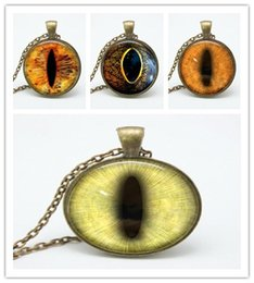 Wholesale vintage dragon necklace - Bestselling 2018 glass eye pendant Necklaces colorful vintage dragon eyes art photo glass dome necklaces for women jewelry