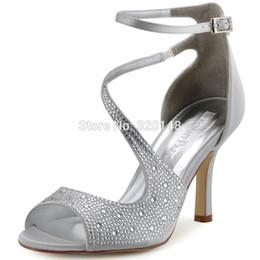 zapatos de boda de la boda de las sandalias del rhinestone Rebajas Sandalias de verano mujer sexy correa de tobillo de plata de tacón alto Bling Rhinestone satinado novia dama de honor bombas nupcial zapatos de boda HP1505