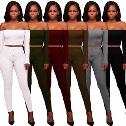 Wholesale Bodywear Women - 2018 New Fashion Women Sexy Skinny Rib Jumpsuits Ladies Club Bodycon Bandage Vestidos BodysuitS Party Bodywear 2 Pieces Rompers
