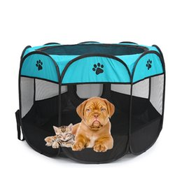 Wholesale Folding Crates - Travel Transport Training Dog Supplies Pet Bed Kennel House Cage Oxford Folding Crate Puppy Fabric Steel
