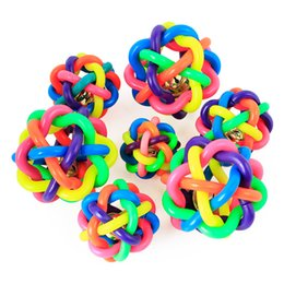Wholesale toys small rubber balls - Colorful Pet Dog Cat Toy Rubber Round Ball with Small Bell Dog Toys SK036