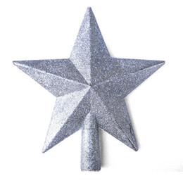 estrela do topper da árvore de natal Desconto 1PC Treasures Red Glittered Mini Star Árvore De Natal Topper 20cm