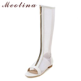 Chinelos de joelho branco planos on-line-Meotina Verão Mulheres Botas Recorte Peep Toe Na Altura Do Joelho Botas Altas Sapatos Baixos Oco Senhoras Sapatos Brancos Tamanho Grande 11 12 46