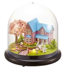 Wholesale transparent furniture - Cute Room Doll House Miniature DIY Dollhouse With Furnitures Transparent Cover Wooden House Toys For Children Gift B016