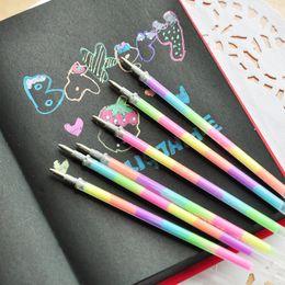 Wholesale Multi Color Gel Pens - Wholesale-10pc lot Multi Color Rainbow Refill Highlighters Gel Pen Students Painting Graffiti Fluorescent Refills School Supplies