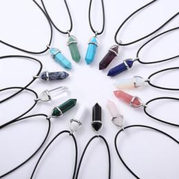 2019 collar de cordón Bohemio Colgante de Bala de Cristal Colgantes de Piedra Natural de La Vendimia Collar de Cristal de Cuarzo Joya Collar de Cordón de Cuero de Piedra Para Mujeres collar de cordón baratos