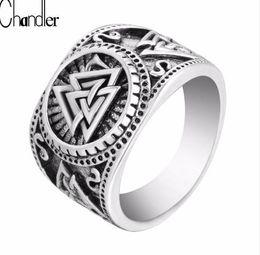Wholesale signet silver - Chandler New Valknut Signet Ring Scandinavn Odin Symbol Norse Viking Jewelry Mens Boys Silver Plated Biker Ring Fashion Jewelry