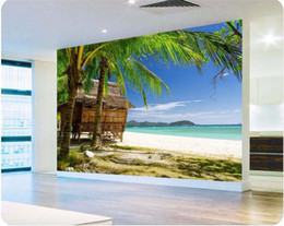 Wholesale wall mural large beach - photo wall paper High quality 3d wallpaper HD palm beach seascape style living room sofa summer large wall mural wallpaper