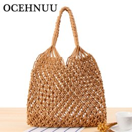 OCEHNUU Knitting Hollow Out woman Shoulder Bag For Beach Bags Women Summer  Big Flowers Bucket Casual Ladies Tote Bag Woven 2018 f174095d2d80c