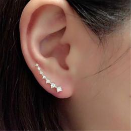Wholesale Luxury Ear Cuffs - Luxury 0.2*2.4cm Diamond Clip Cuff Earrings 3 Styles Dipper Hook Stud Earrings Jewelry for Women