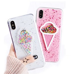 Wholesale 3d bling case cover - 3D Dynamic Ice Cream Phone Case For Iphone X Fashion Glitter Bling Back Cover Lovely Cartoon Cases For Iphone 6 7 8 Plus