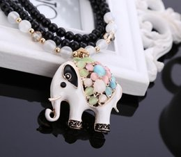 Wholesale jewelry paint silver - Vintage Paint Cat's Eye stone Crystal Elephant Pendants Necklace Exquisite Bead Sweater Chain Necklaces Pendants Women Fashion Jewelry Craft