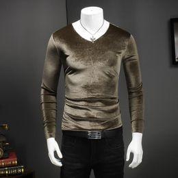 Wholesale V Neck Undershirts - 2018 Spring New Brand Mens Top Lycra Cotton Soft Undershirt Casual Style Long Sleeve V Neck Slim Bottoming Shirt Comfortable 5XL