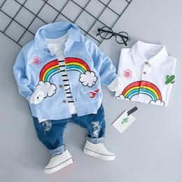 Wholesale 12 month boy jeans - Children Clothing Sets Autumn Baby Girl Boy Clothes Suits Rainbow Shirt Holes Jeans Infant Casual Kid Clothes Suits