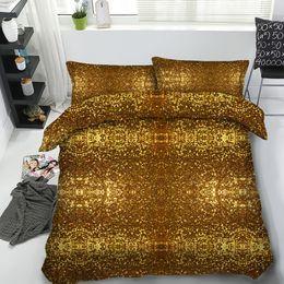 Set di biancheria da letto king online-JF-472 Camera da letto di lusso set unico arredamento per la casa 4pcs bling glitter dorato brillante set biancheria da letto singola regina Super King trapunta copre
