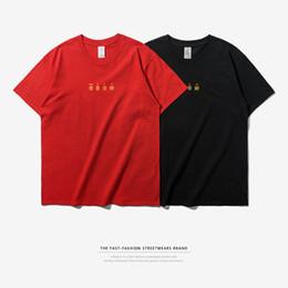 Wholesale Blank Tee Top Shirts - INFLATION 2018 Chinese New Year GONG XI FA CAI T-shirt Men Summer Blank Urban Men Tee Tops Streetwear T-Shirts Red 8138S