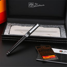 Wholesale Roller Material - 1pc lot Picasso 902 Roller Ball Pen Black Pen Silver Clip Material Escolar School Supplies Retail Box Stationery 13.6*1.3cm
