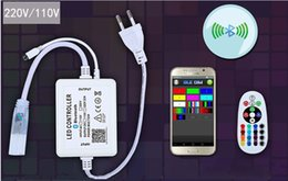 Tira de cambio de color led remoto online-110V 220V Controlador Bluetooth para la luz de tira del LED Solo Color RGB IR Cambio remoto de música Configuración de bricolaje Bombillas LED inteligentes