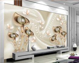 Wholesale Printing Photos Metal - Custom Photo Wallpaper 3D Mural Cool Metal Taste Jewelery TV Background wall paper papel de parede wallpaper