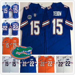 gator football jerseys Promo Codes - 2019 Florida Gators #15 Tim Tebow 22 Emmitt Smith Royal Blue White Orange NCAA Vintage Retro College Football New Brand Jump Men's Jersey
