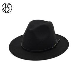 2019 черные трилби шляпы FS британский широкими полями шляпы чувствовал классический Trilby Джаз шляпа для взрослых мужчин черный серый хаки Осень Зима женщины Панама Федорас скидка черные трилби шляпы