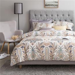 Wholesale Paisley Bedding - Medusa Egyptian cotton sateen paisley garden bedding set king queen size duvet cover bed sheet pillow cases 4pcs bed linen set
