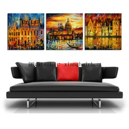 Wholesale Oil Painting Framed Abstract Building - Leonid Afremov : Building Lake,3 Pieces Home Decor HD Printed Modern Art Painting on Canvas (Unframed Framed)