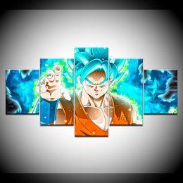 marcos de la pared pinturas al óleo paisaje Rebajas 5 Unidades Lienzo Pintura Anime Dragon Ball Goku Imagen Para Niños Habitación Home Decor HD HD Impresión de la Lona Cartel de Arte Pintura Sin Marco